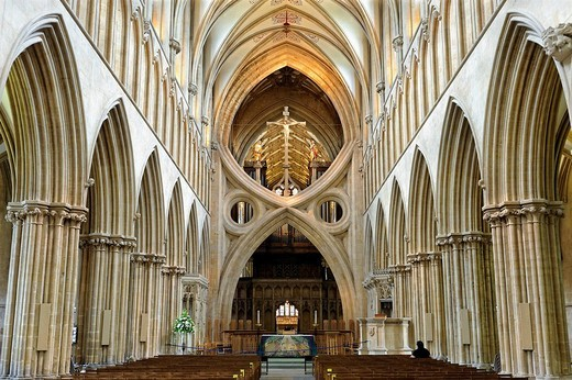 Stock Photo: 1848-170713 Interior view with the remarkable inverted arch in St. Andrew´s Cathedral, Wells, County Somerset, England, United Kingdom, Europe
