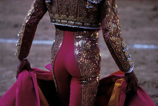 Traje de Luz , Bullfighting arena of Las Ventas , backside of a torero , Madrid , Spain , Europe : Stock Photo