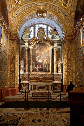 The grand interior of St. John´s Co_Cathedral, Valletta, Malta, Europe : Stock Photo