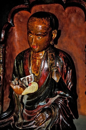 Clay statues, collecting donations, Palcho Monastery or Pelkor Chode Monastery or Shekar Gyantse, Gyantse, Tibet : Stock Photo