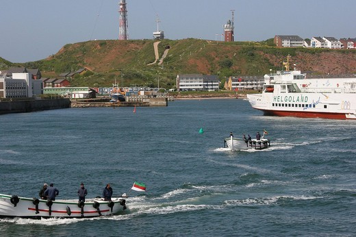 Stock Photo: 1848-171349 Ferry and Boerte boats, deep_sea island Heligoland, Schleswig_Holstein, Germany, Europe
