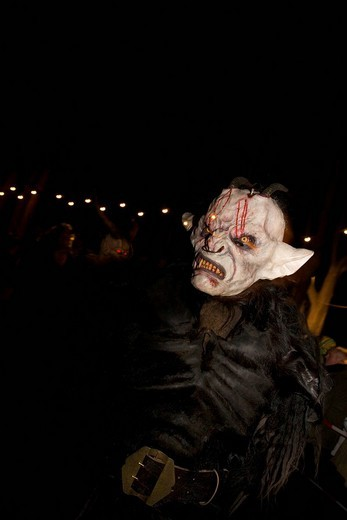 Stock Photo: 1848-171410 Krampus, a traditional Austrian figure bound to the tradition of St. Nicholas, he is the evil counterpart responsible for punishing and frightening the wicked children while St. Nicholas rewards the honest children, Reichenau at Mt. Rax, Lower Austria, Au