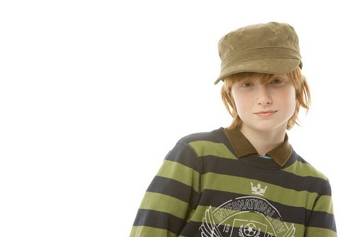 12_year_old boy wearing a cap : Stock Photo