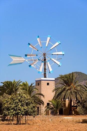 Typical Ibizan windmill and a finca, Ibiza, Balearic Islands, Spain, Europe : Stock Photo