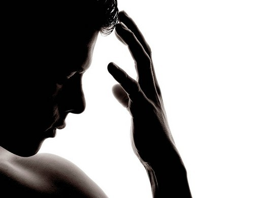 Man, face, hand, touching, silhouette : Stock Photo