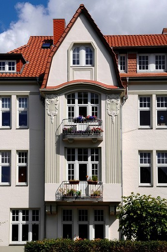 Refurbished Art Nouveau house, Luebeck, Schleswig_Holstein, Germany, Europe : Stock Photo