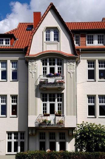 Stock Photo: 1848-171805 Refurbished Art Nouveau house, Luebeck, Schleswig_Holstein, Germany, Europe