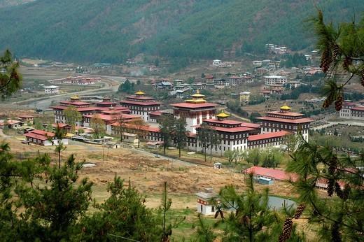 Stock Photo: 1848-172068 Dzong, Buddhist monastery and fortress, in Thimphu, Bhutan, Himalaya Mountains, Asia
