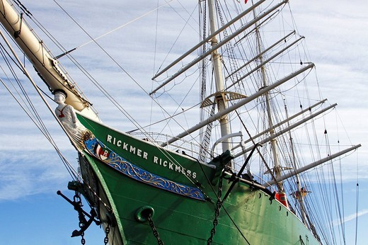 Rickmer Rickmers, museum ship at the Port of Hamburg, sailing ship with figurehead, tall ship, three_masted barque, windjammer, Hamburg, Germany, Europe : Stock Photo