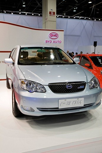 The Chinese_made BYD F3DM gas_electric hybrid at the North American International Auto Show, Detroit, Michigan, USA : Stock Photo