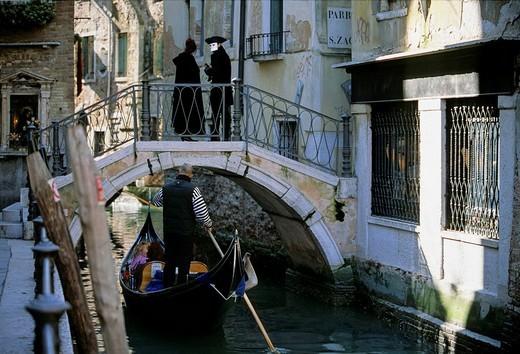 Masks in the alleys, carnival in Venice, Veneto, Italy, Europe : Stock Photo