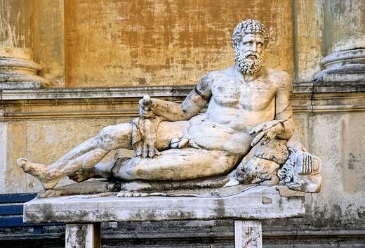 Stock Photo: 1848-172320 Antique statue of a reclining god, Braccio Nuovo new wing, Cortile della Pigna museum, Vatican museums, Vatican City, Rome, Latium, Italy, Europe