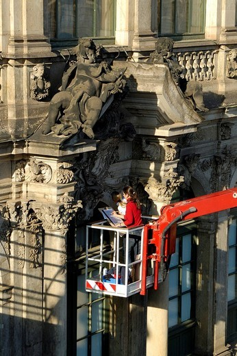 Zwinger restorer, Dresden, Saxony, Germany : Stock Photo