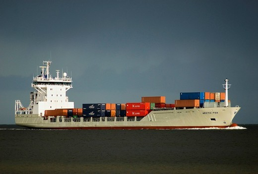 Containership on Baltic Sea, Kiel Fjord, Schleswig_Holstein, Germany, Europe : Stock Photo