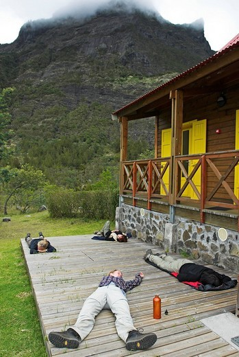 Stock Photo: 1848-173177 Exhausted hikers in Marla, caldera Cirque de Mafate, La Reunion Island, France, Africa