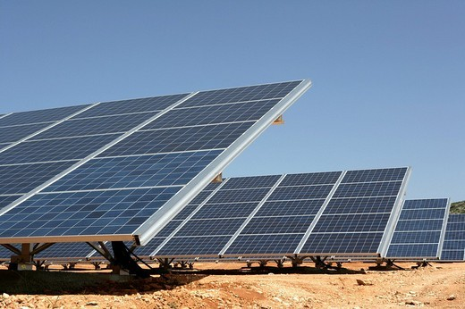 Stock Photo: 1848-173219 ESP, Spain, Beneixama: Solar power station, built by the german City_Solar_Group