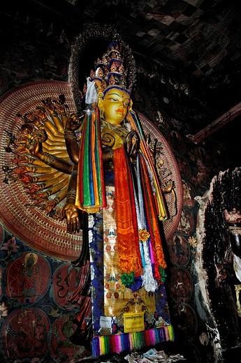 Stock Photo: 1848-173302 Thousand arms god, Avalokiteshvara, Palcho Monastery or Pelkor Chode Monastery or Shekar Gyantse, Gyantse, Tibet
