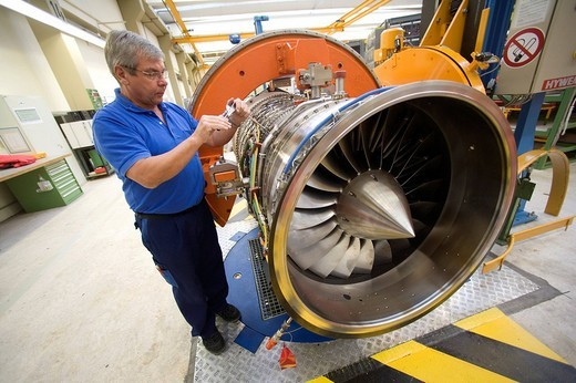 Stock Photo: 1848-173382 MTU Aero Engines GmbH: production of Eurofighter engines EJ200, MUNICH, GERMANY.