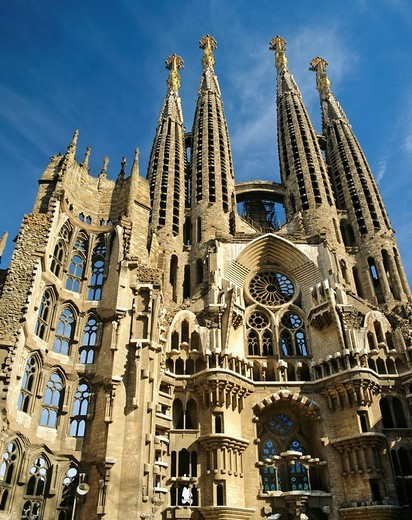 Towers of the Sagrada Familia temple, Gaudi, Barcelona, Catalonia, Spain : Stock Photo