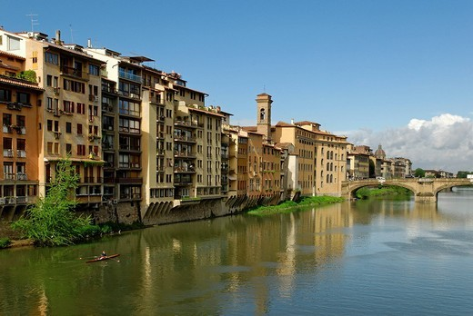Stock Photo: 1848-173802 Historic city centre of Florence on the bank of the river Arno, UNESCO World Heritage Site, Tuscany, Italy, Europe