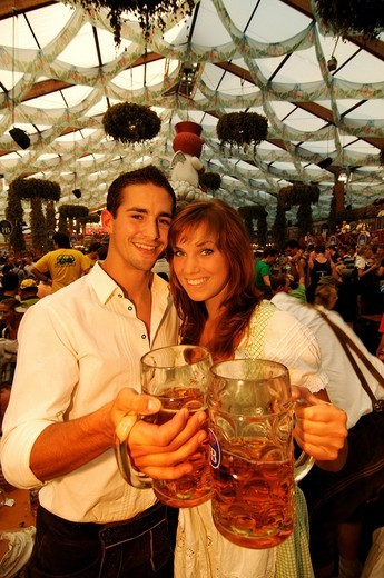 Oktoberfest Beer Festival, Wies´n, couple in a beer tent, Munich, Bavaria, Germany, Europe : Stock Photo