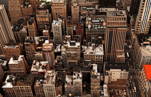 Stock Photo: 1848-173989 View over the roofs of New York from the Empire State Building, New York City, USA