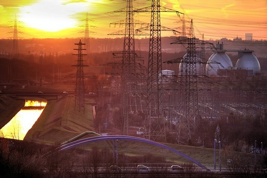 Waste_to_energy_plant Essen_Karnap, RWE Power AG, Essen, Emscher sewage works Bottrop, Ruhr Area, North Rhine_Westphalia, Germany, Europe : Stock Photo