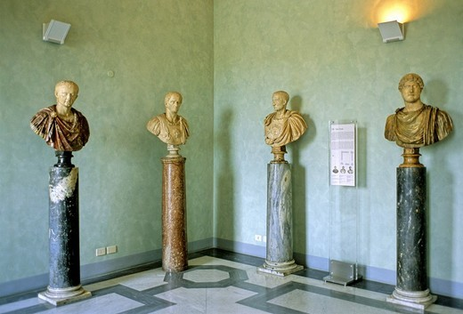 Busts of Roman emperors, Sala Verde, Conservator´s Palace, Capitoline Museums, Capitoline Hill, Rome, Lazio, Italy, Europe : Stock Photo