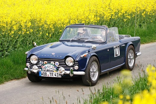 Triumph TR 4A, built in 1965, vintage car motor rally Wiesbaden 2009, Hesse, Germany, Europe : Stock Photo