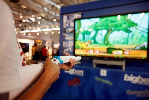Stock Photo: 1848-174641 Nintendo Wii booth at the Entertainment Area of the Gamescom, the world´s largest fair for computer games in the Messe Koeln Exhibition Center, Cologne, North Rhine_Westphalia, Germany, Europe