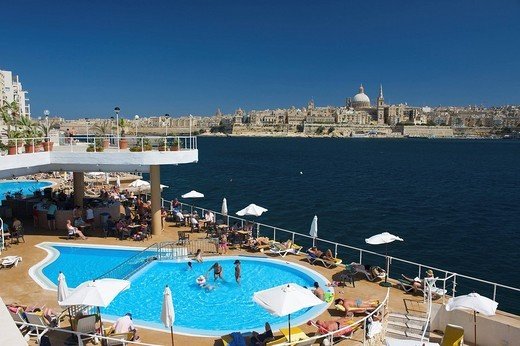View from a hotel pool in Sliema on Valletta, Malta, Europe : Stock Photo