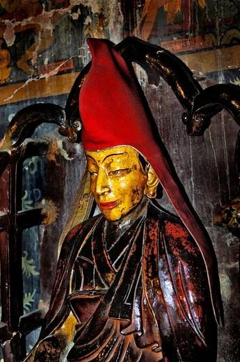 Clay statue, Palcho Monastery or Pelkor Chode Monastery or Shekar Gyantse, Gyantse, Tibet : Stock Photo