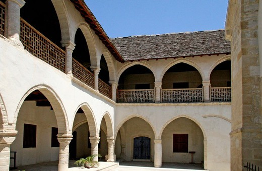 Cloister, Timiou Stavrou Church, Omodos, Cyprus, Europe : Stock Photo
