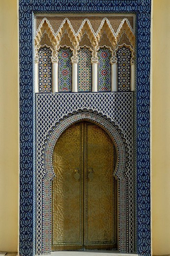 Bronze entrance door, Fes, Morocco, North Africa : Stock Photo