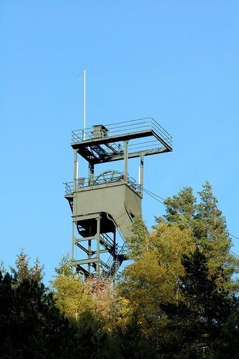 UNESCO Word Heritage Site ore mine Rammelsberg shaft tower Goslar Lower Saxony Germany : Stock Photo