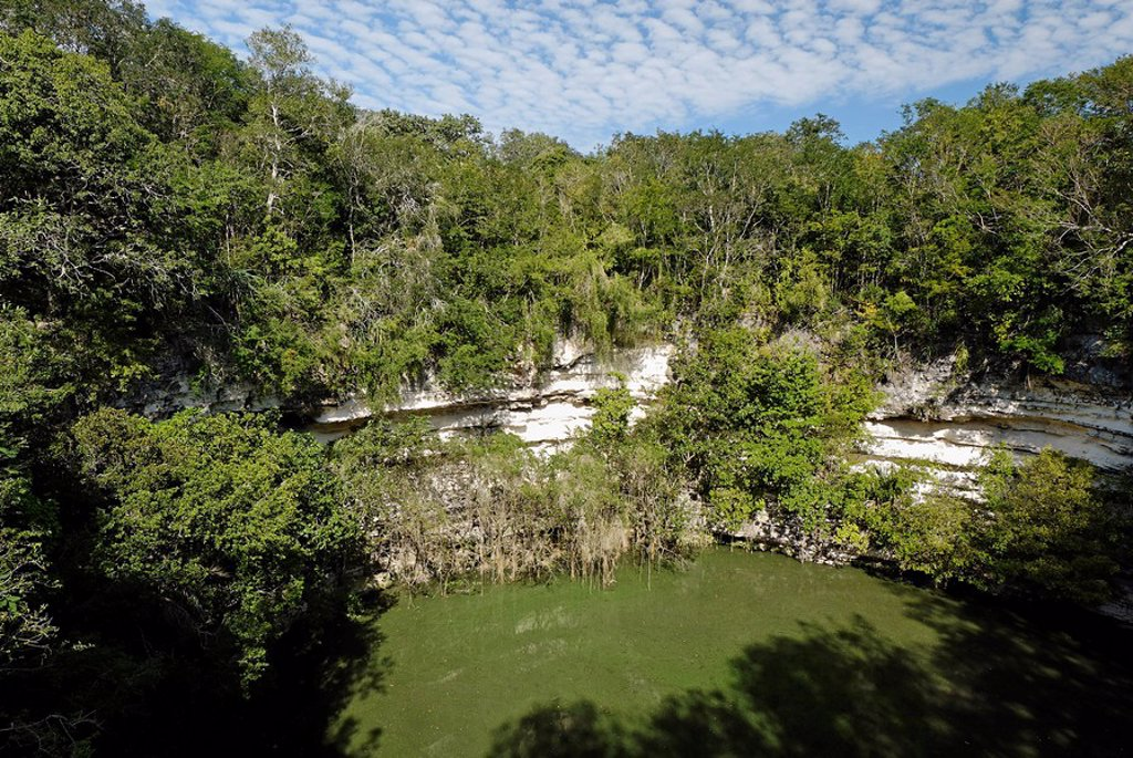 Cenote Sagrado, holy cenote, Maya and Toltec archeological site Chichen Itza, new worldwonder, Yucatan, Mexico : Stock Photo