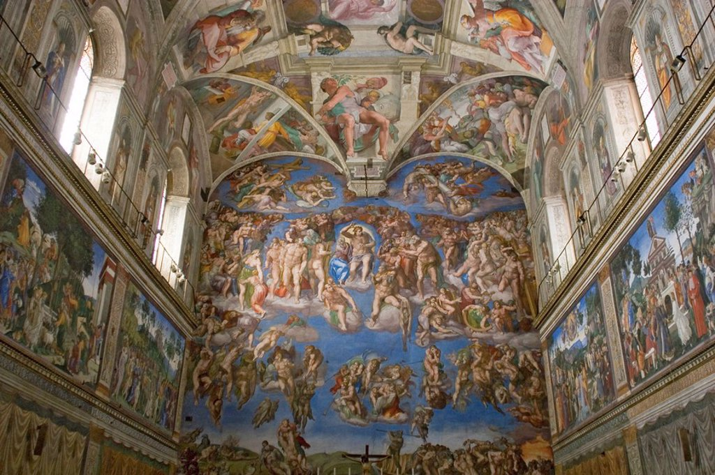 Stock Photo: 1848-176914 The Last Judgment is a painting by Michelangelo located in the Sistine Chapel Vatican City, Vatican, Rome , Lazio , Italy , Europe