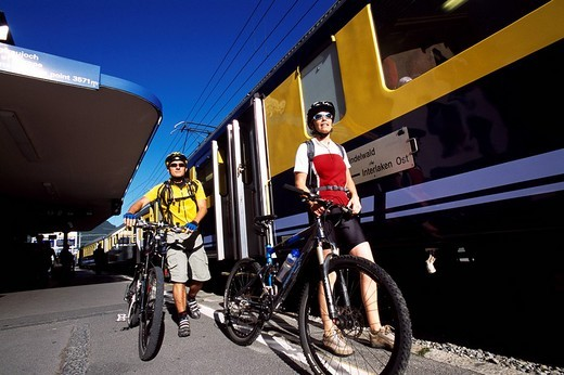 Stock Photo: 1848-177113 Mountain bikers, Grindelwald Station, Bernese Oberland, Switzerland