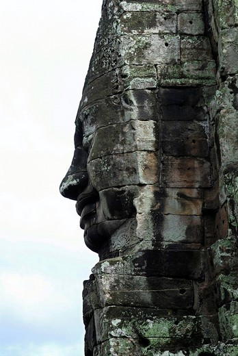 Relief of the hinduist god Lokeshvara Lord of the world in Bayon tempel in the ancient city Angkor Thom, Cambodia : Stock Photo