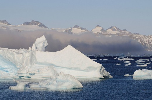 Stock Photo: 1848-178033 Icebergs in the Johan_Petersen_Fjord, East Greenland, Greenland