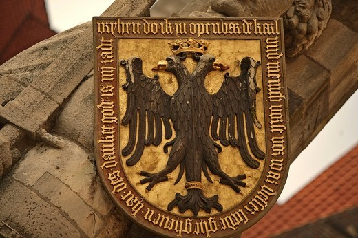Coat of arms on the Roland statue, Bremen, Germany : Stock Photo