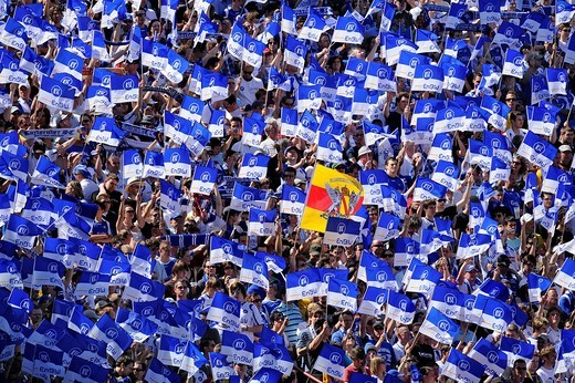Karlsruher SC fan block with Baden flag, Wildpark Stadium Karlsruhe, Baden_Wuerttemberg, Germany, Europe : Stock Photo