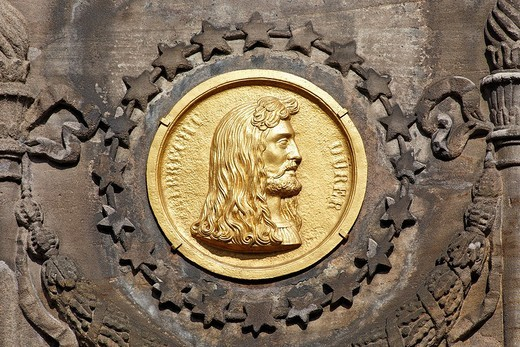 Bronze medallion, Duerer Pirckheimer Fountain, Friendship Fountain, Max Square, historic centre, City of Nuremberg, Middle Franconia, Franconia, Bavaria, Germany, Europe : Stock Photo