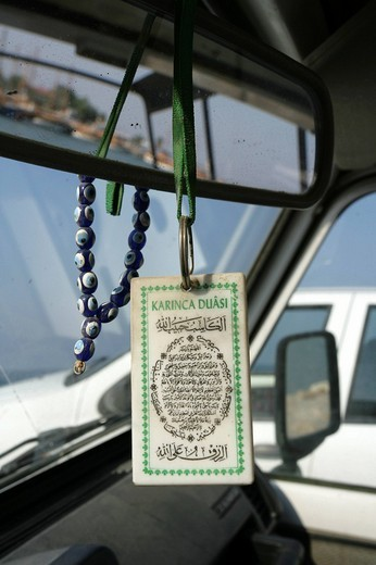 Stock Photo: 1848-179239 TUR Turkey Side Lucky charm in a car blue eyes chain and koran verse