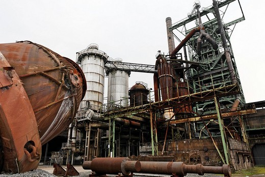 Blast furnace of the disused ironworks Henrichshuette, industrial museum, Hattingen, NRW, Germany : Stock Photo