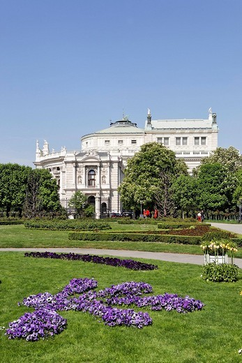 Burgtheater Castle Theatre viewed from the Volksgarten, Vienna, Austria, Europe : Stock Photo