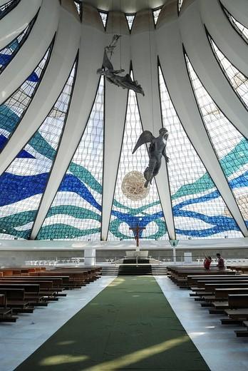 Inside the cathedral Nossa senhora da Aparecida, Brasilia, Brazil. Architect: Oscar Niemeyer : Stock Photo