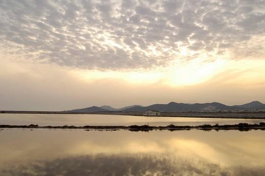 Salt evaporation ponds, San Francesch, Ibiza, Spain : Stock Photo