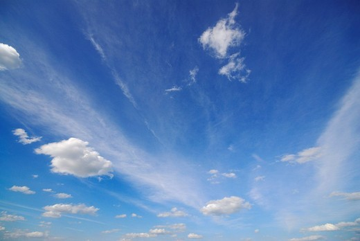 Stock Photo: 1848-179559 Cirrostratus clouds in a blue sky