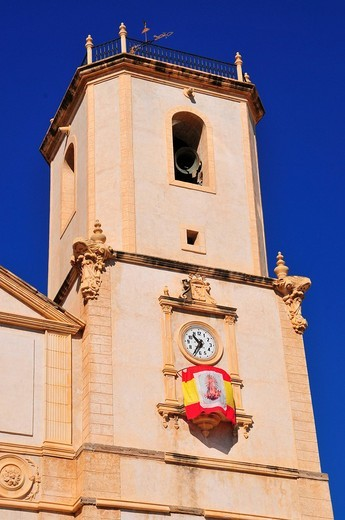 Tower of the Iglesia Purísima Concepción, Church of the Miraculous Conception, La Nucia, Costa Blanca, Spain : Stock Photo
